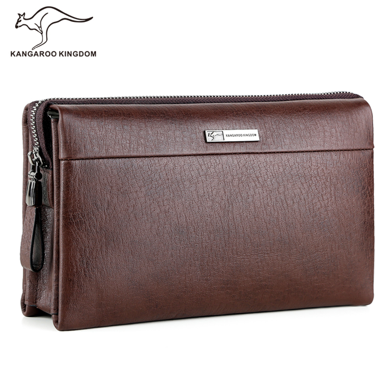 Kangaroo Kingdom Luxury Brand Men Bag Genuine Leather Men Clutch Bags Large Capacity Business Male Handbag 2017 luxury brand men clutch cowhide wallet genuine leather hand bag classic multifunction mens high capacity clutch bags purses