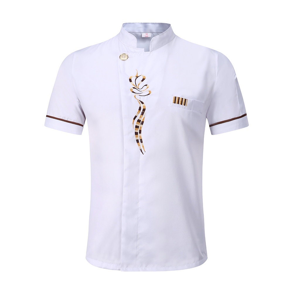 Unisex Singel Breasted Short Sleeve Embroidery Floral Chef Kitchen Cooking Food Service Waiter Bakery Cafe Uniform Jackets Apron