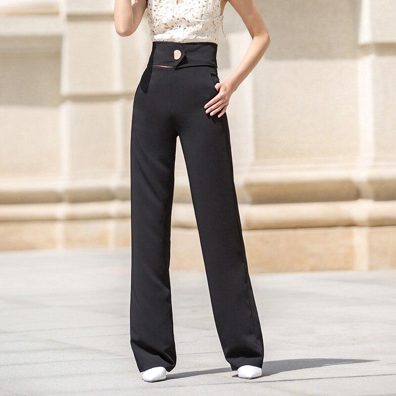 ACRMRAC женские повседневные брюки весна и осень высокая талия брюки тонкие однотонные прямые брюки длинные брюки женские - 4