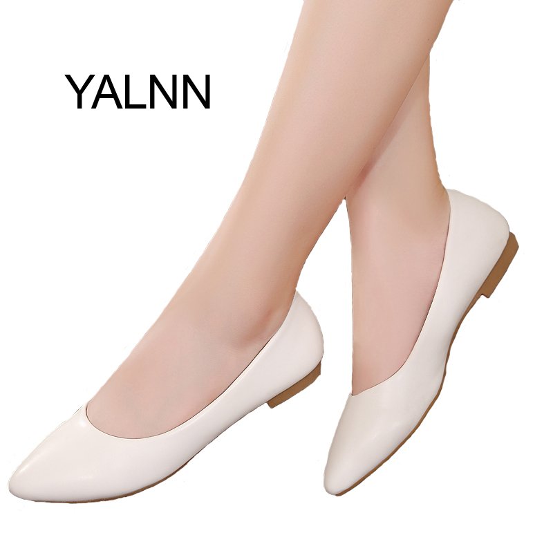 YALNN 2019 New Women Shoes Flat Leather Platform Heels Shoes White Women Pointed Toe Leather Girl Flats Shoes