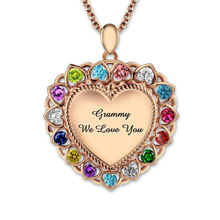 Wholesale Personalized Engraved Birthstones Heart Necklace Rose Gold Color Grandma Necklace Jewelry
