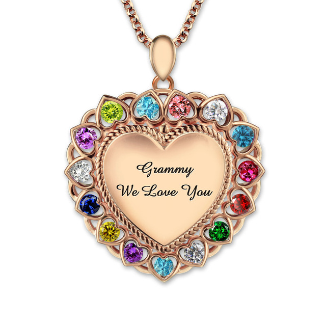 wholesale personalized engraved birthstones heart necklace rose gold