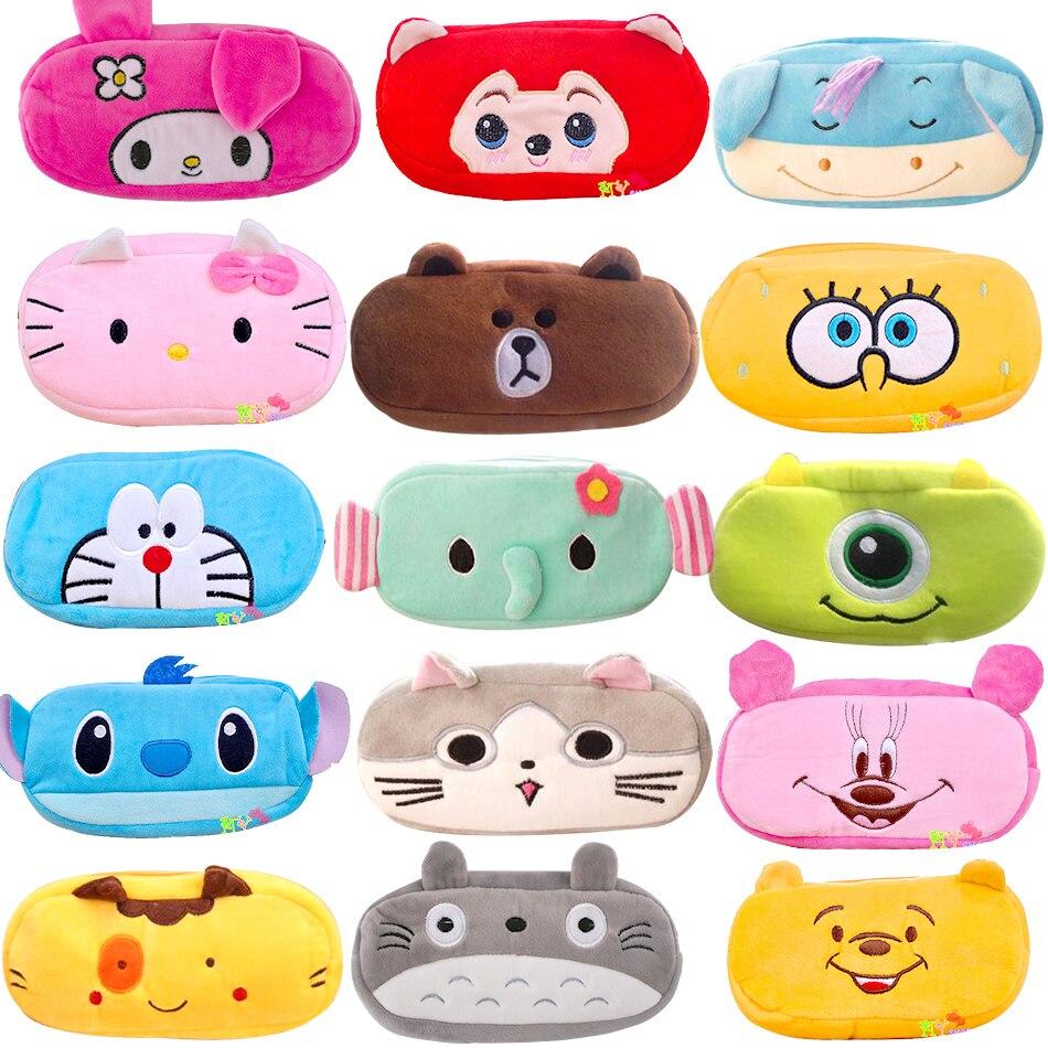 Cute Cartoon Plush Pencil Case Kawaii Large Size School Kids Pencil Box Animal Stationery Fashion Makeup Bag Free Shipping
