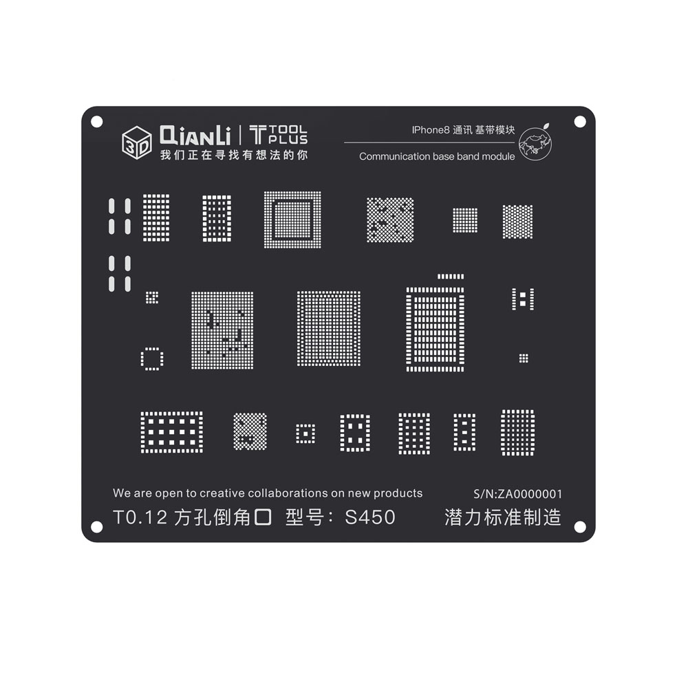 Qianli 3D Positioning Black Stencil Universal Communication Base Band Stencil For IPhone 5 5s 6 6Plus 6s 6sPlus 7 7Plus 8 8Plus