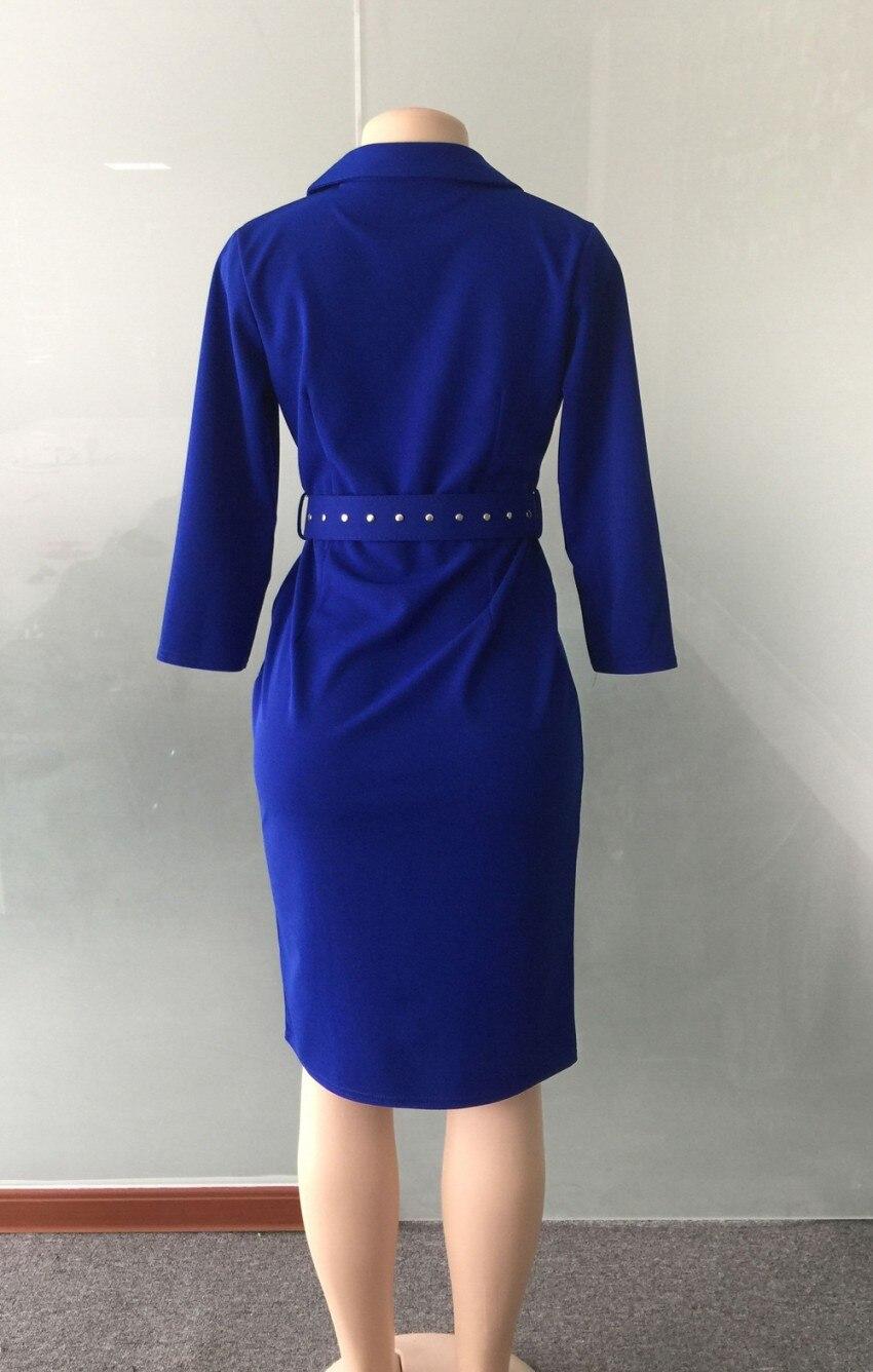 Femmes Manches Midi Casual Bouton Ol vert Bleu Recueillir Travail Nouveau Robes Gaine 2019 Bureau Crayon Moulante 3 4 Élégant D'affaires Robe p7wxzf