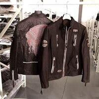 2019 винтажное Женское пальто из натуральной коровьей кожи, женская куртка из натуральной замши, вышитая эмблема коричневого цвета, большие р
