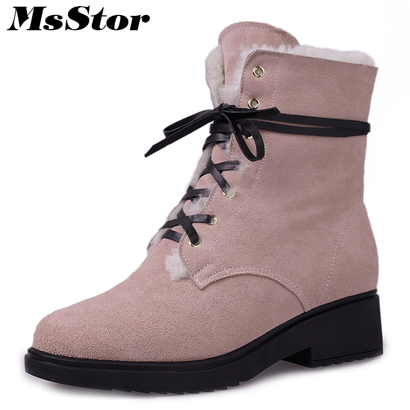 все цены на MsStor Round Toe Med Heel Women Boots Fashion Cross Tied Ankle Boots Women Winter Shoes Square heel Lace Up Wool Boots For Girl онлайн