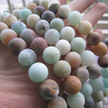 Envío libre 6mm 8mm 10mm Mate Cuentas de piedra Amazonita Natural Bosque Suelta perlas 1 cadena cerca de 40 cm al por mayor