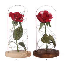 Eternal Life Flower Artificial Red Rose LED Light with Fallen Petals in a Glass Dome on Wooden Base Wedding Party Decor gift box