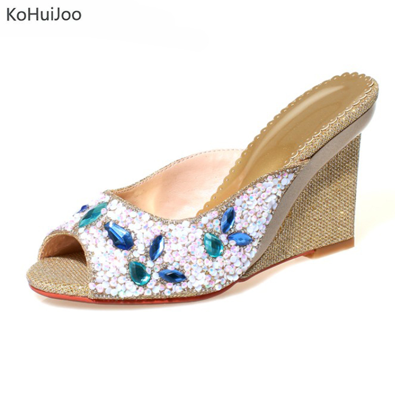 KoHuiJoo Crystal Women Slippers Shoes Woman Sandals Wedges Heel Shoes 2018 Platform High Heels Slip on Fashion Ladies Size 33-40 phyanic 2017 gladiator sandals gold silver shoes woman summer platform wedges glitters creepers casual women shoes phy3323