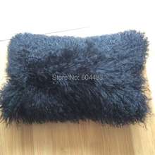 Free Shipping 1 Piece Mongolian Fur Pillow Tibet Skin Pillow 12″x18″ Black