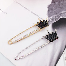New Vintage Large Crown Pins Brooches for Women Men Fashion Collar Lapel Pins Badge Zircon Brooch Sweater Wedding Jewelry Gift