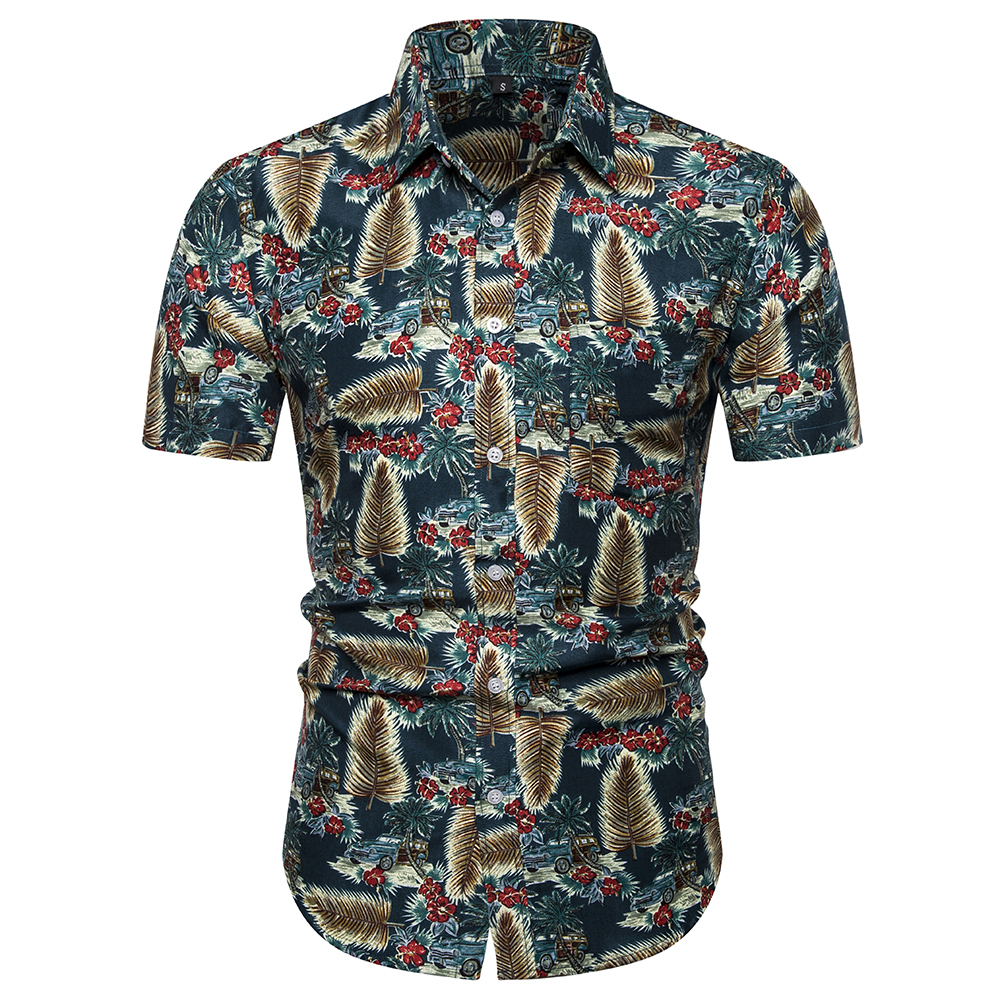 Mens Print Short Sleeve Shirt Beach Hawaiian Casual Slip Dress