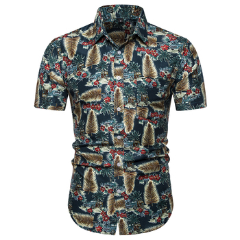 цена на Men's Print Short Sleeve Shirt Beach Hawaiian Shirt Men's Casual Short Sleeve Hawaiian Shirt Slip Dress