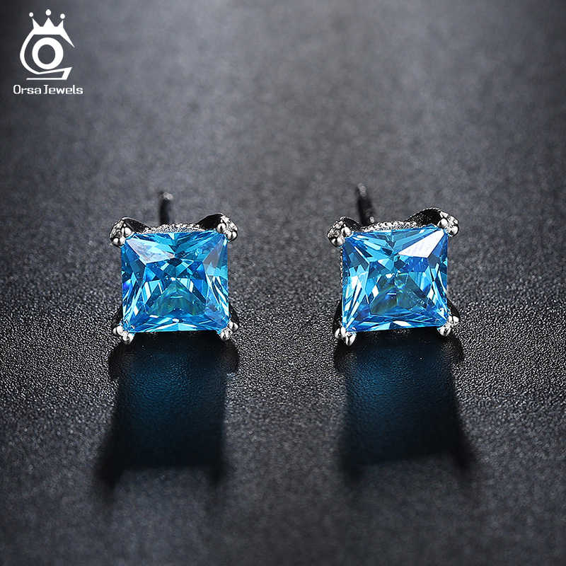 ORSA JEWELS Cute Silver Color Earring Studs with 1.2ct Blue Cubic Zirconia for Girl 2019 Fashion Women Jewelry Earrings OE155