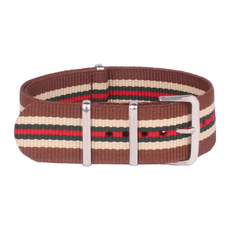 Wholesale 18 mm Brown Green Army Military Sports nato fabric Nylon watchband Watch Strap accessories Band Buckle belt 18mm