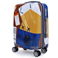 2017 High Quality Fashionable Travel on Road 20 Inch Plane Letter Print Spinner Suitcase Luggage Trolley Case