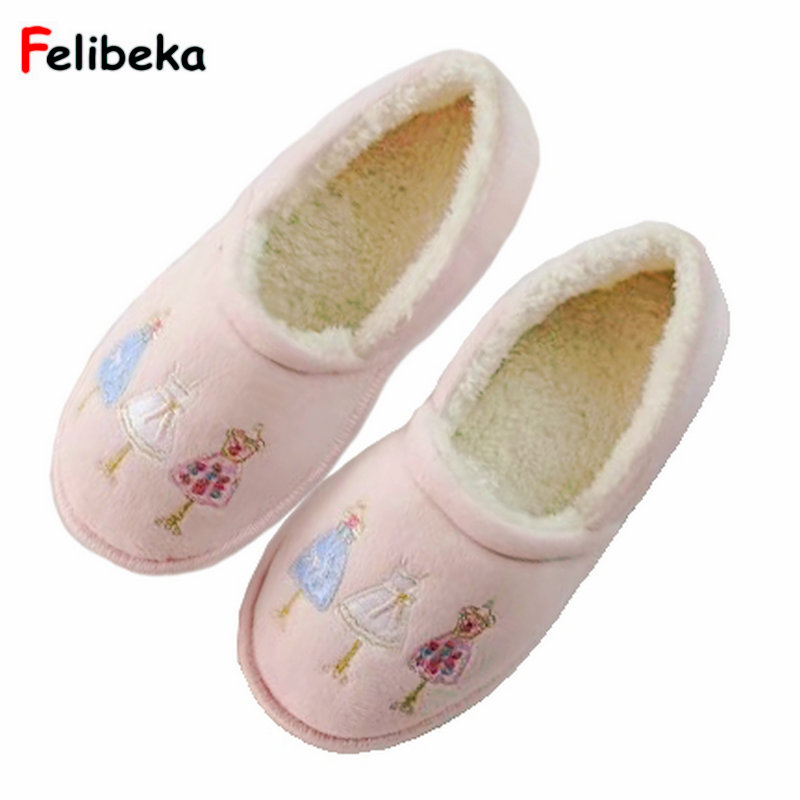 Lovely Cartoon Plush winter Slippers warm Indoor Women plush Shoes Girls Delicate pink rosenlew rc 312 plush pink