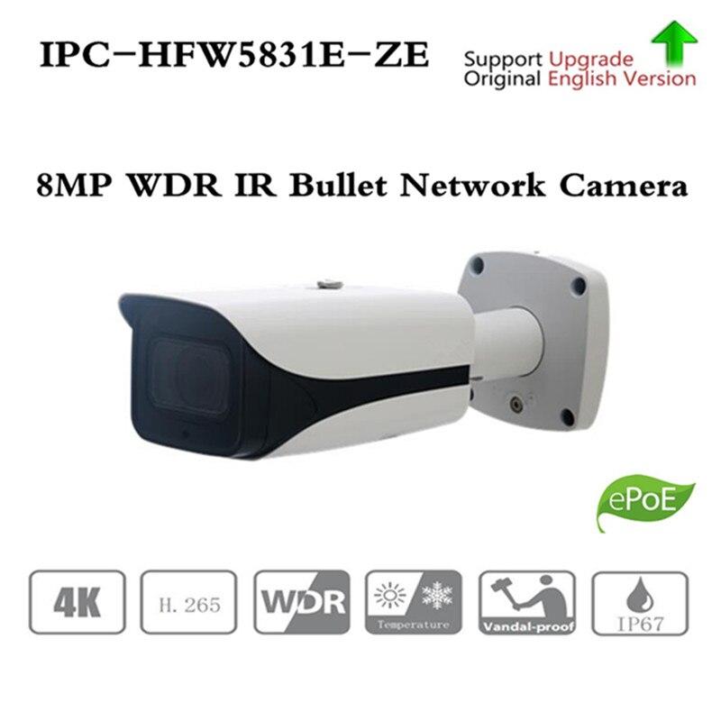 ahua 8MP POE IP Camera IPC-HFW5831E-ZE IR Bullet Network IP Camera H.265 Outdoor IP67 IR distance 50m 2.7-12mm motorized lens free shipping dahua cctv camera 4k 8mp wdr ir mini bullet network camera ip67 with poe without logo ipc hfw4831e se