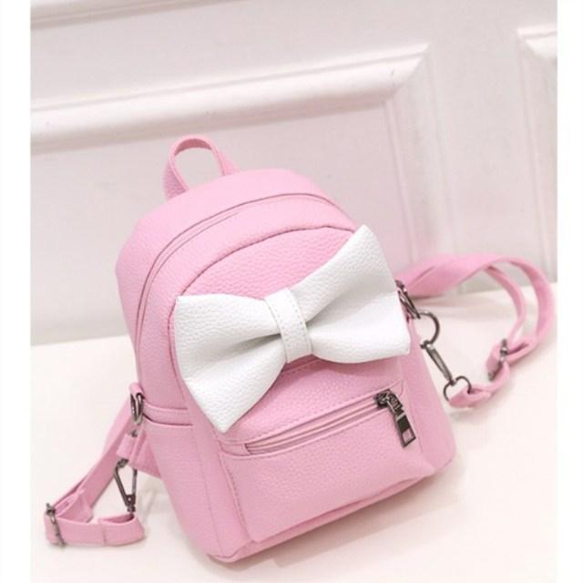 6c5071de89ea Bow Backpack Women PU Leather Female Mini Bag Women s Backpack Sweet Bow  Teen Girls Backpacks School Bag Lady Shoulder Bag