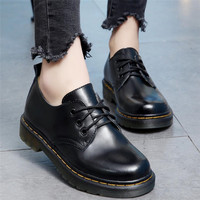 Oxford Shoes For Women Shoes Woman Cow Leather Martin Ankle Female Casual Shoes Flats 2018 Spring Autumn Lace Up Zapatos Mujer