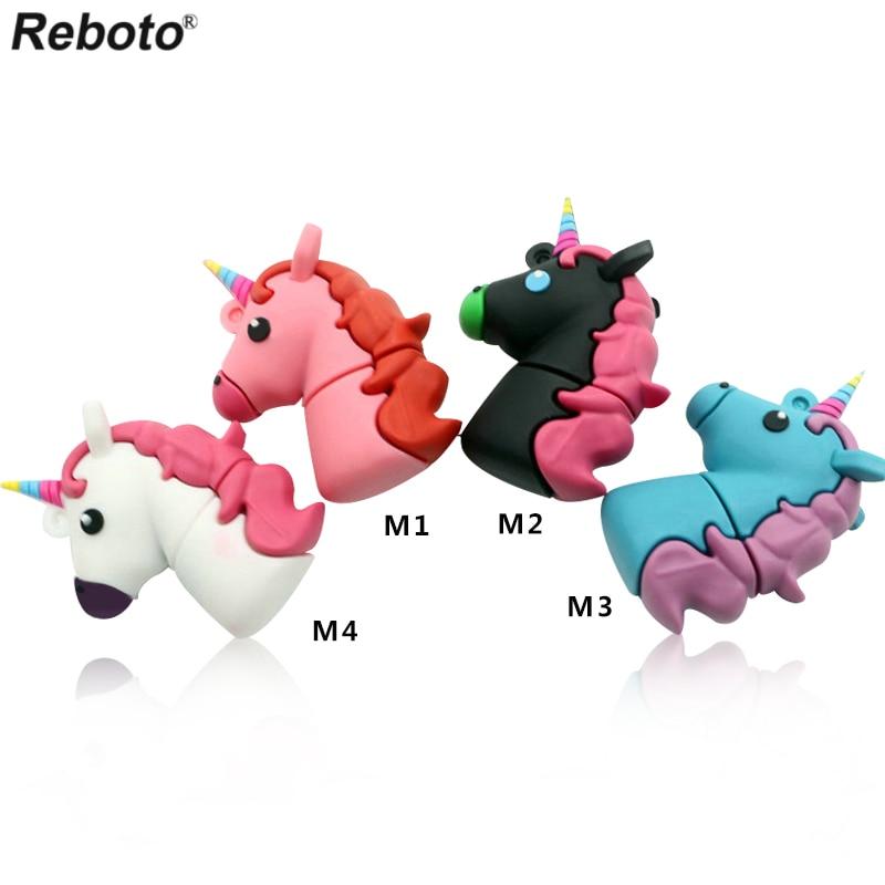 Reboto unicorn memory stick cartoon usb flash drive pendrive 4GB 8GB 16GB 32GB 64GB pen drive toy usb 2.0 u disk free shipping цена и фото
