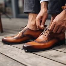 QYFCIOUFU Men Dress Shoes Fashion Genuine Leather Brands Wedding Oxford For MenS Breathable Formal Footwear