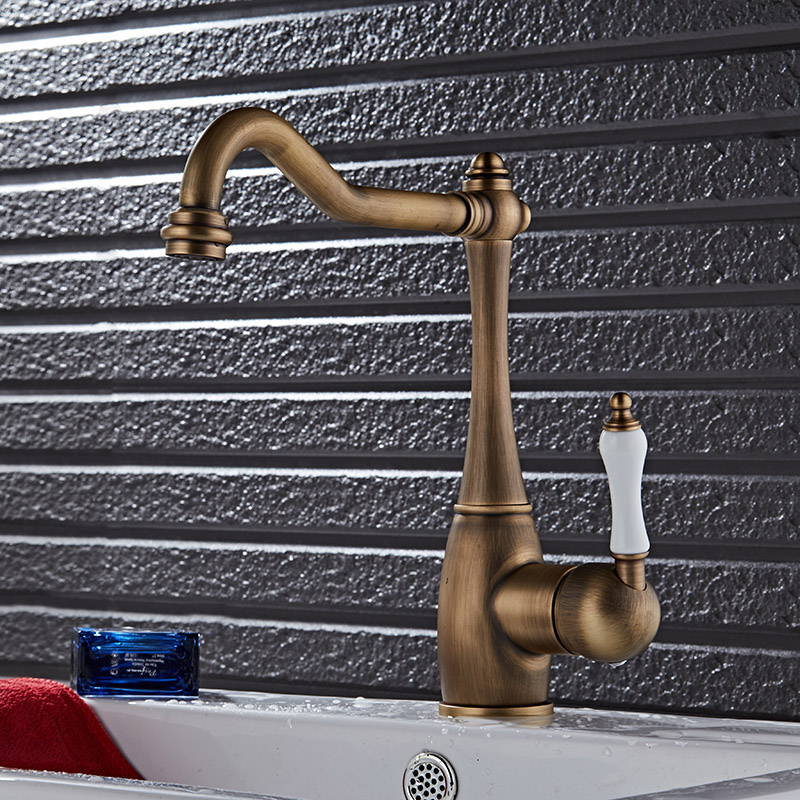 Free Shipping Antique copper bathroom faucet fashion vintage hot and cold Sink faucet wash basin mixer sink faucet water tap 2015 new arrival kitchen faucet tap fashion copper antique and porcelain counter basin hot cold faucet vintage wash single hole