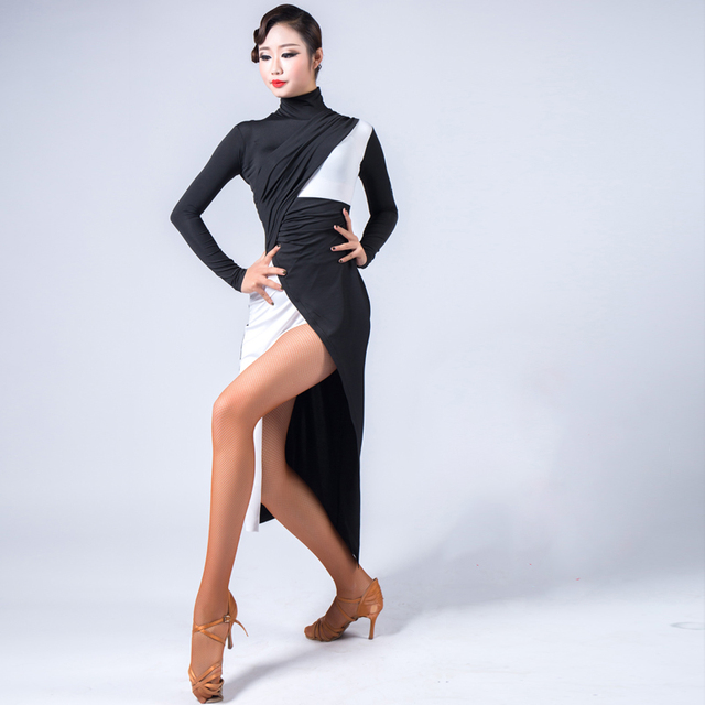 e2932010d854 Long Sleeve Sexy New Latin Dance Dress Women Competition Dress Samba Dance  Costumes Clothes For Salsa Ice Silk Adult Perform