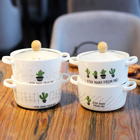 Cartoon Cactus Creative Ceramic Bowl Double Ear Anti scalding Soup Bowl Korean Style Large Capacity Noodle Bowl