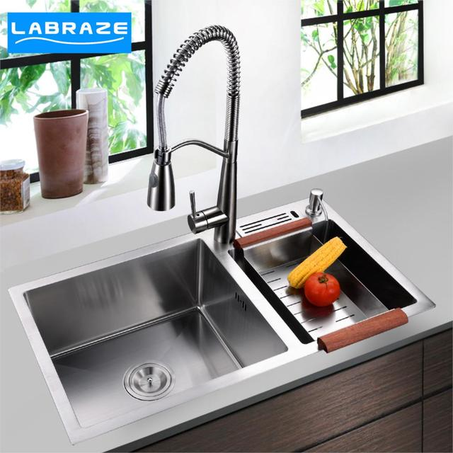 Beau German Kitchen Sink Dual Slot Thick 304 Stainless Steel Sink Hand Sink Suit  KITCHEN