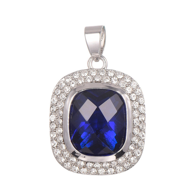 Blue Crystal Zircon With White Crystal Zircon Pendant 925 Sterling Silver   Pendant TE633