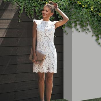 Vestido de encaje blanco de verano para mujer elegante ceñido al cuerpo...