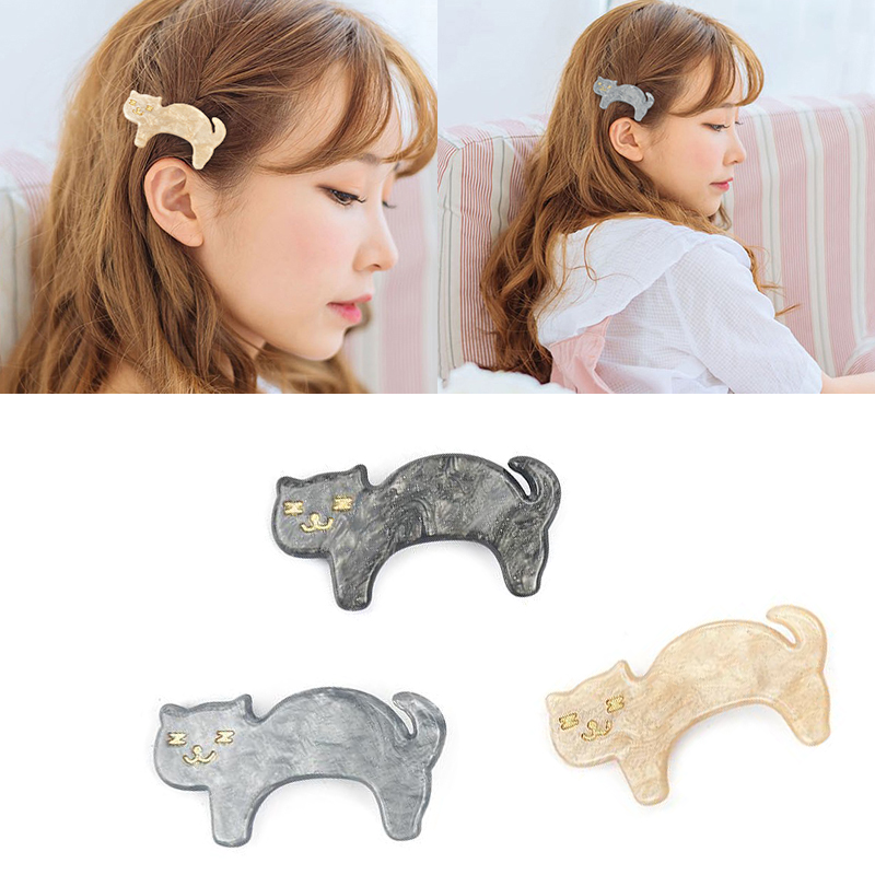 LOEEL Women Animals Hair Accessories Solid Color Cartoon Cat Hairpins Jewelry Acrylic Buckbill Hair Clip   Headwear   for Women Girl