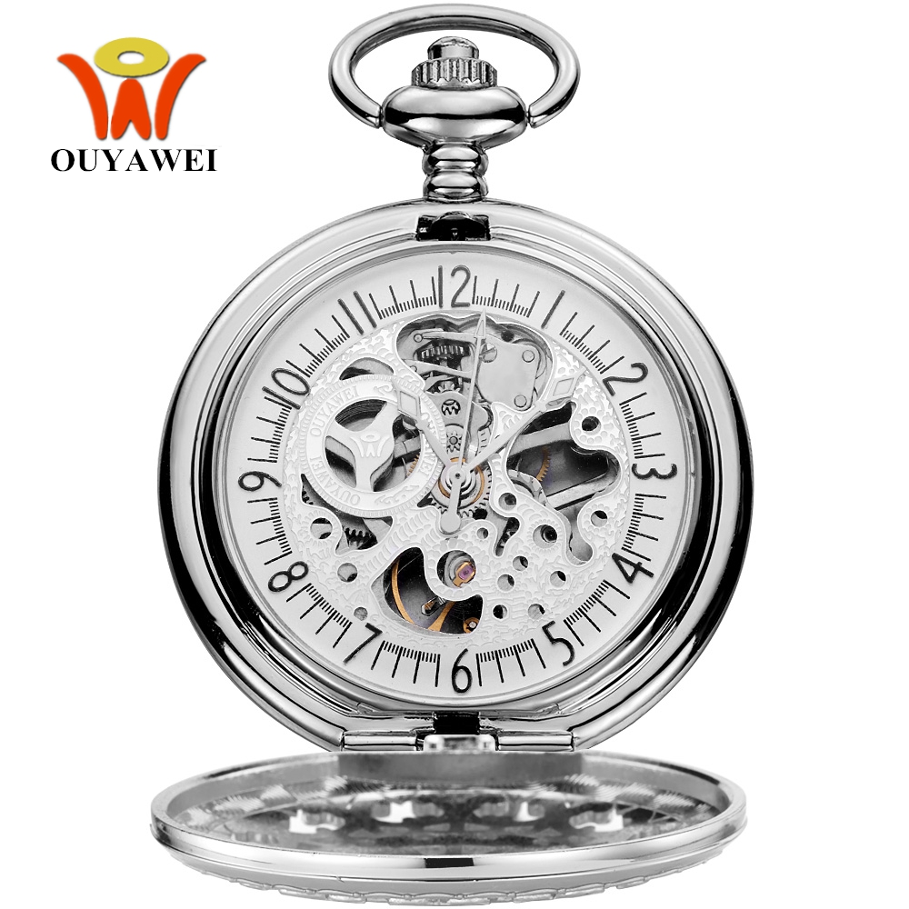 New Arrival OYW Silver Skeleton Hand Wind Fob Pocket Watch Transparent Backcover Necklace Chain Steampunk Fashion Vintage Watch