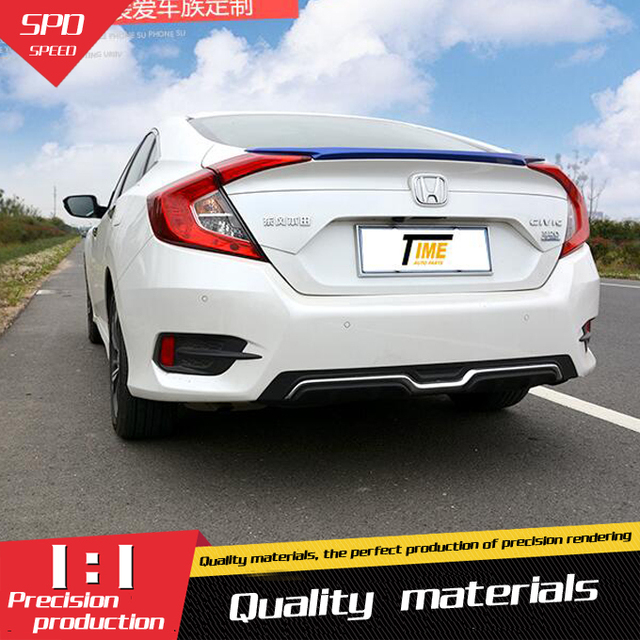 For Civic Rear Spoiler Abs Rear Bumper Diffuser Bumpers Protector For Honda 16 Civic Body Kit