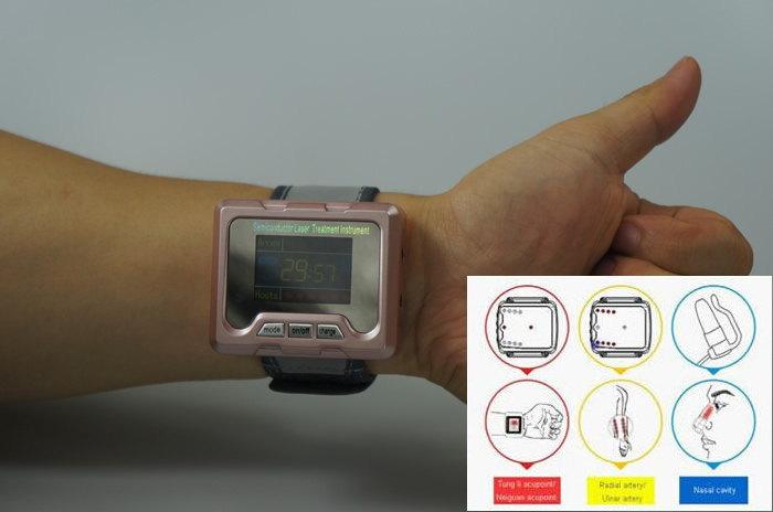 watch type 650nm Low Level Laser Therapy for blood LLLT laser therapeutic apparatus low level laser light therapy hemodynamic metabolic wrist type pulse laser
