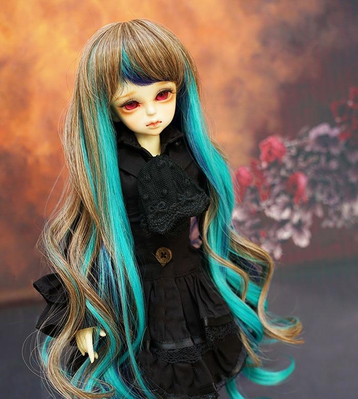 D01-p130 Children Handmade Toy 1/3 1/4 Doll Accessories Bjd/sd Doll Wig Peacock Princess Dream Long Curly 1pcs