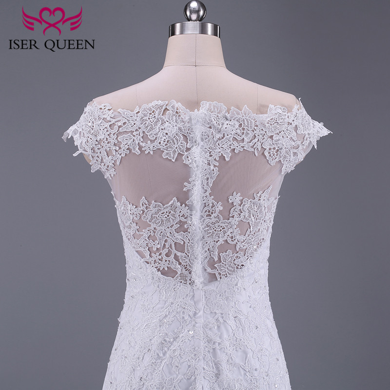 Image 5 - Pure White African Mermaid Wedding Dress  Short Cap Sleeve Hollow Plus size Embroidery Appliques Vintage Wedding Dresses W0036-in Wedding Dresses from Weddings & Events