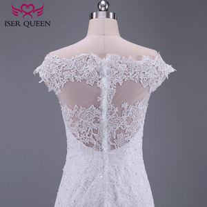 Image 5 - Pure White African Mermaid Wedding Dress  Short Cap Sleeve Hollow Plus size Embroidery Appliques Vintage Wedding Dresses W0036