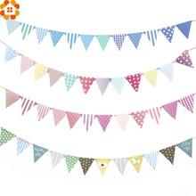 1 conjunto de papel colorido/pano bandeira & bandeiras guirlanda bunting floral banners diy crianças aniversário/festa de casamento decoração suprimentos