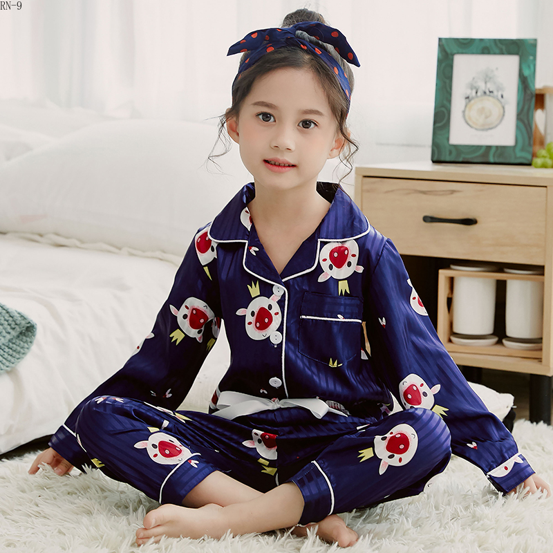 Fashion Girls Sleepwear Suit 2019 Autum Long Sleeve Cardigan Suit Cartoon Children Pajamas Set Kids Cute Soft Girls Pijamas Set(China)