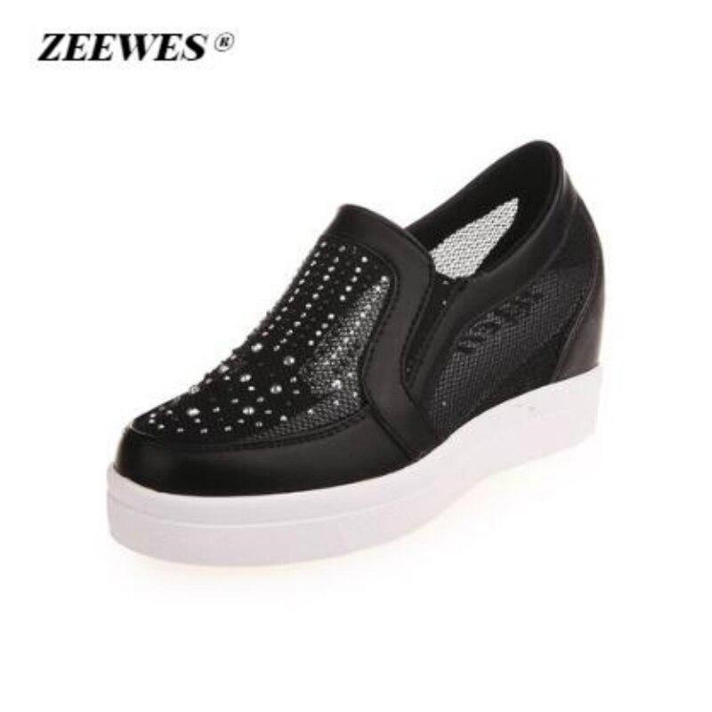 2018 Summer Women Platform Sneakers white Fashion Casual Shoes Female Mesh Rhinestone Height Increase Flat Shoes Zapatos De Muje
