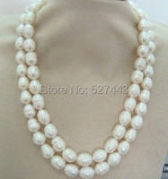 Wholesale free shipping >>>>>>>11 13mm 38inch natural Australian south sea white pearl necklace