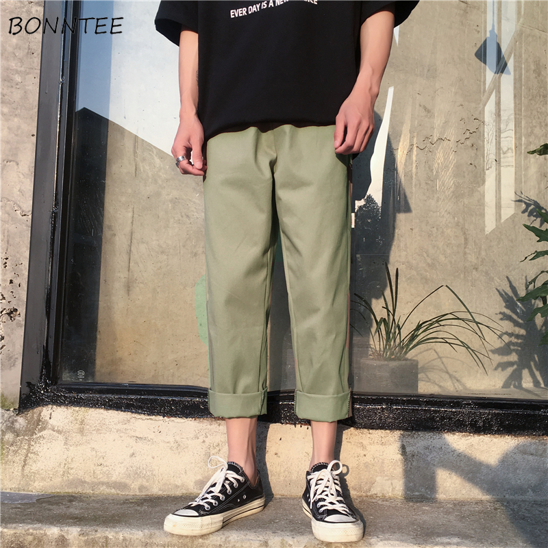 Pants Men Korean Style Harajuku BF Retro Students Straight All Match Mens Loose Casual Males Full Length Trousers Daily Hot Sale
