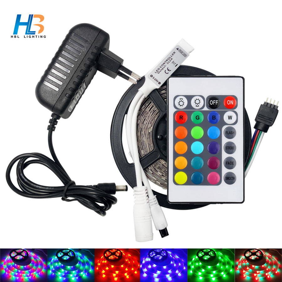 HBL RGB LED Strip light 5M 2835 Flexible led strip non waterproof led tape ribbon with controller full set for decoration hbl led strip 2835 5m 10m rgb led strip light 15m 20m 3528 smd led ribbon flexible led tape non waterproof 12v adapter full set