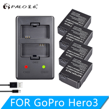 PALO 4PC 1600mAh AHDBT-301 AHDBT-302 Rechargeable Battery + LCD USB Charger for AHDBT 301 302 Gopro Hero 3 3+ Go Pro