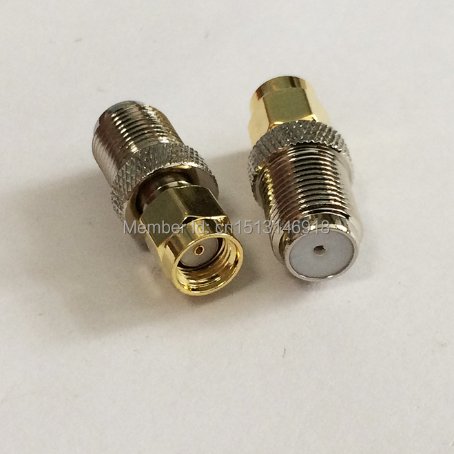 1PC  F  Female Jack   to  RP-SMA  Male Plug  RF Coax Adapter convertor  Straight   Nickelplated  NEW wholesale 2pcs lot yt70b rp sma male plug switch sma female jack rf coax adapter convertor connector straight goldplated sell at a loss
