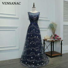 VENSANAC New A Line 2017 Lace Sweetheart Draped Long Evening Dresses Sleeveless Elegant Flowers Tank Party Prom Gowns