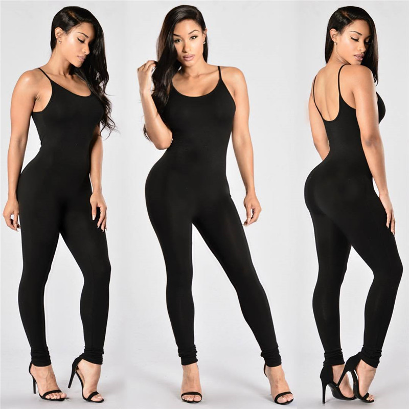 Rompers Fashion 2019 Spring Summer Sexy Spaghetti Strap Bodycon   Jumpsuit   Casual Black White   Jumpsuits   Female Streetwear Clothing